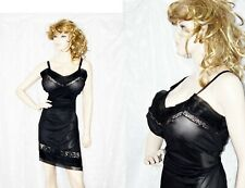 New listing Vtg Black Wet Look Nylon Lace Full Slip 44 46 2X 3X
