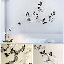 18 stk Schwarz /Weiß 3D Schmetterling Kristall Dekor Wand Aufkleber Abziehbilder