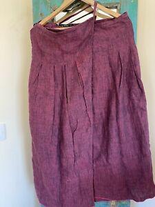 Gudrun Sjoden Wraparound Linen Skirt Size S (10)
