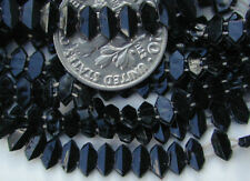275 Vintage Black 6x3mm Hexagon DOUBLE HOLES Nailhead Beads Buttons Embroidery