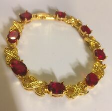 """GB Red oval cubic zirconia, gold filled tennis bracelet, 7.5"""" long BOXED Plum UK"""