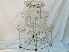 Antique Victorian Wire 3 Tiered Plant Stand