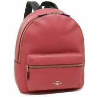 NWT Coach F30550 Medium Charlie Refined Pebble Leather Backpack Poppy $350