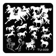 1pc Nail Art Stencils Steed Horse Pegasus Design Convert Images Templates TU09