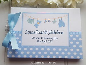 PERSONALISED BOYS  CHRISTENING / NAMING DAY GUEST BOOK