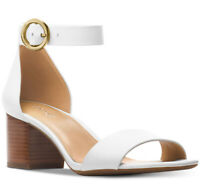 NIB Size 8 Michael Kors Lena White Leather Sandal Heels