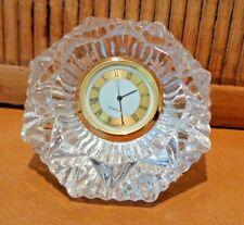 "Glass Diamond Paperweight Desk Clock / 3 1/2"" across / Works"