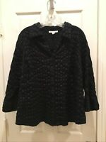 JM Collection Black Texture V-neck Button down Blouse Top Size 16 W 3/4 Sleeves!