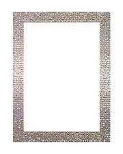 retro moderno Plano Brillo Efecto Espejo mosaico Marco de fotos Perla Plata