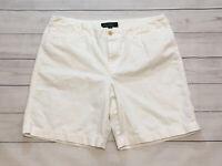 "Ralph Lauren Womens Size 12 White High Rise 100% Cotton 8"" Inseam Bermuda Shorts"