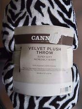 CANNON VELVET PLUSH SOFT 50 X 60 BLACK & WHITE ZEBRA THROW BLANKET BRAND NEW