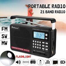 Portable Radio AM/FM/SW(1-18) LCD Digital Speaker Rechargeable Flashlight +18650