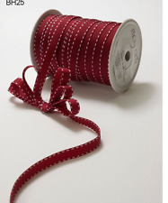 "3/8"" Grosgrain Stitched Edge Ribbon – May Arts -Burgundy/White - BH25 - 5 yds"