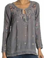 NWT New $248 JOHNNY WAS Santorini Blouse gray cupra rayon tunic embroidery  XS