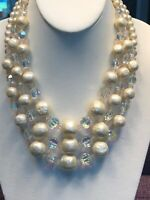 Vintage 1950S Faceted Pearl Aurora Borealis Crystal Three Strand Necklace 17-19""