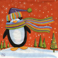 4 Motivservietten Servietten Napkins Tovaglioli Weihnachten Pinguin (921)
