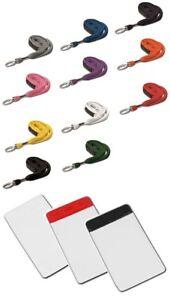 Tubular Metal Lobster Clip Lanyard & VINYL PORTRAIT Card Holder - Pick Colour