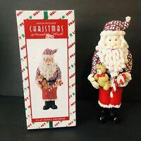 Vintage Wood & Clay Santa Claus Figurine Teddy Bear House of Lloyd Christmas MIB