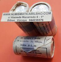 25 monedas CARTUCHO TACO ORIGINAL FNMT 100 PESETAS 1966 * 19/67 PLATA SC 1967