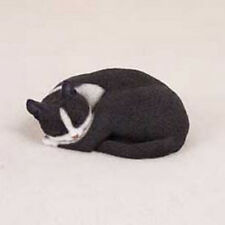 PLEASANT DREAMS BLACK WHITE CAT Figurine Statue Hand Painted Resin Gift