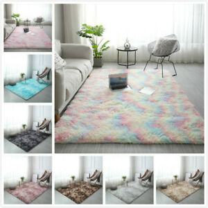 Shaggy Tie-dye Gradient Carpet Plush Area Rugs Pads Bedroom Floor Mats 50X160CM