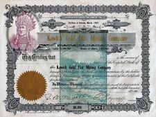 Kawich Gold Flat Mining Company, Arizona, 190_, Teilblankette, Indianer-Vign.