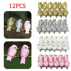 12x Clip-on Mini Fake Birds Xmas Tree Ornaments Festival Garden Decoration Gifts