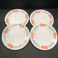 "Arcopal France China Wildflowers Salad Plates 7.75"" Orange Flowers Set of 4"