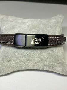 Montblanc Woven Brown Leather & Stainless Bracelet