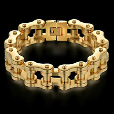 Men Jewelry Cool Bracelet Gold Color Stainless Steel Male Bracelets Biker