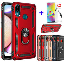 For Samsung Galaxy A10e A20 A20s A50 A70 Case Stand Hard Cover+Tempered Glass