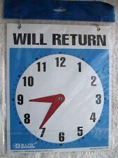 "Bazic Rectangular Open Come In Will Return Adjustable Clock Sign Chain 9 x 7.5 """