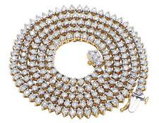 "10K Yellow Gold Genuine Diamond 3.5MM Martini Tennis Chain Necklace 6 3/4 Ct 22"""