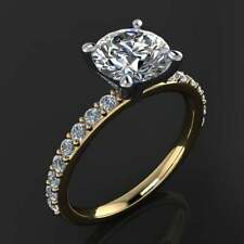 Accent Solitaire Engagement Ring 2Ct Round White Moissanite 14K Yellow Gold Over