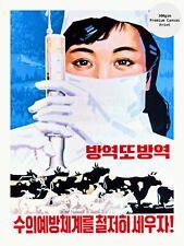 "North Korea Propaganda Poster on Canvas Print PREVENTION OF DESEASES 18x24"""