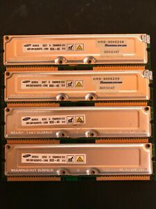 1GB (4x256MB) 800-40 800MHz ECC 184-Pin SAMSUNG RDRAM Memory Modules