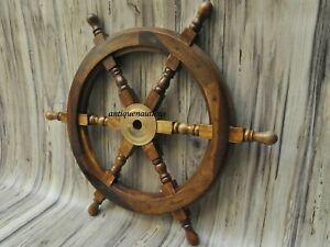 "Nautical Wooden Ship Steering Wheel Handmade Wood And Brass 18"" ship wheel"