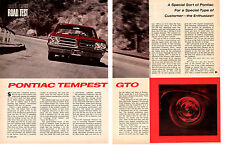 1964 PONTIAC GTO 389/348 HP TRI-POWER ~ ORIGINAL 6-PAGE ROAD TEST / ARTICLE / AD