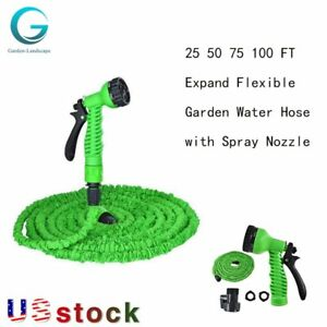 Deluxe 25 50 75 100 FT Expandable Flexible Garden Water Hose With Spray Nozzle