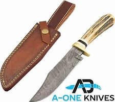 "12"" CUSTOM HANDMADE DAMASCUS BOWIE HUNTING KNIFE WITH STAGE HANDLE LEATHER SHEAT"