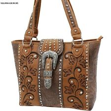 Western Embroidery Design & Studs Concealed Weapon  Handbag 