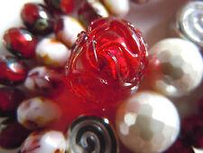 "Neue Garnet&White Gold Foil ""Glacier Round"" Murano-Perle- ca.12mm- Venetian Bead"