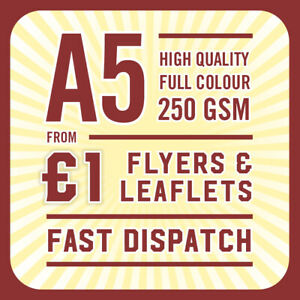 1000 Full Colour Printed Flyers / Leaflets - 250gsm Gloss A5