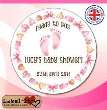 BLG03 48x40mm Baby Shower Birth Girl Personalised Christening Sticker/Label/Card