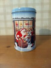 Vintage M&M Christmas Tin 1991 Collectible Santa Candy Mars Season's Greetings