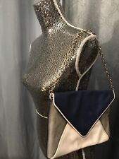 Banana Republic Theresa Calf Hair blue gray  Leather Envelope Clutch Bag Purse