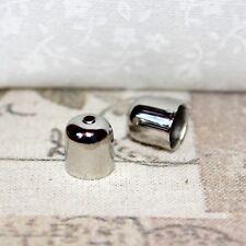 40x Silver tone cord end/bead caps/mini tassel caps - 8mm x 7mm