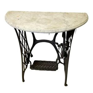 Marble Top Singer Treadle Sewing Machine Base Console Table Garden Table