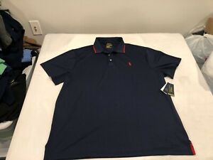 NWT $98.50 Polo Ralph Lauren Mens Perfrmance SS Polo Navy w/Red Pony MEDIUM
