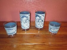 Currier And Ives Blue & White Glasses Lot of 4 Drinking Glasses Glass Tumblers